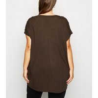Blue Vanilla Curves Brown Shoulder Button Top New Look