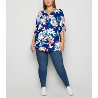 Blue Vanilla Curves Blue Floral Zip Front Top New Look