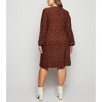 Blue Vanilla Curves Orange Leopard Print Wrap Dress New Look