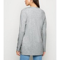 Pale Grey Longline Cardigan New Look