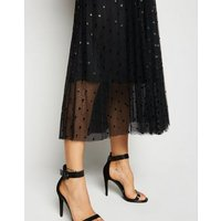 Black Spot Mesh Midi Skirt New Look