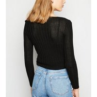 Carpe Diem Black Ribbed Fine Knit Cardigan New Look