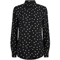 Black Chiffon Spot Long Sleeve Shirt New Look