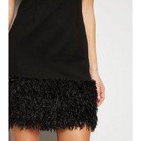 Blue Vanilla Black Faux Feather Trim Dress New Look