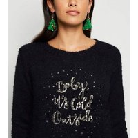 Mela Black Baby It's Cold Outside Christmas Jumper New Look