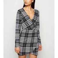 AX Paris Black Check Wrap Bodycon Dress New Look