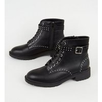 Black Leather-Look Studded Lace Up Boots New Look Vegan