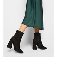 Black Suedette Flared Heel Square Toe Boots New Look Vegan