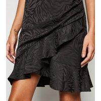 Black Satin Tiger Jacquard Cowl Neck Dress New Look