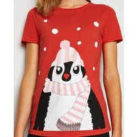 Red Christmas Penguin T-Shirt New Look
