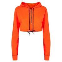 Cameo Rose Bright Orange Crop Hoodie New Look