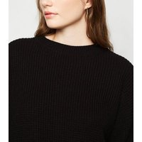 Black Waffle Knit Crop Jumper New Look