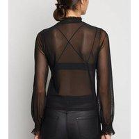 Black Sheer Mesh Long Sleeve Top New Look