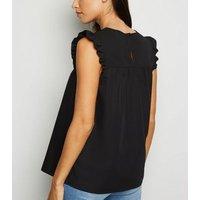 Black Frill Sleeve Poplin Smock Top New Look