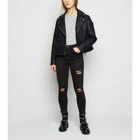 Petite Black Ripped Super Skinny Jeans New Look