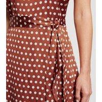 Petite Brown Satin Spot Ruffle Maxi Dress New Look