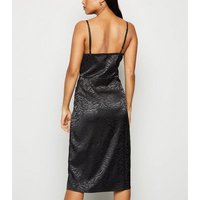 Petite Black Satin Zebra Jacquard Midi Dress New Look