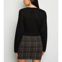 Black Check Tube Mini Skirt New Look