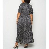 Curves Black Satin Spot Wrap Midi Dress New Look