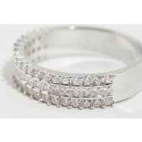 Silver Cubic Zirconia Band Ring New Look