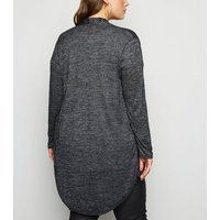 Mela Curves Grey Two Zip Dip Hem Cardigan New Look