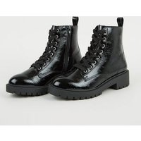 Girls Black Patent Chunky Lace Up Boots New Look Vegan