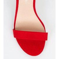 Red Suedette Ankle Strap Stiletto Heels New Look Vegan