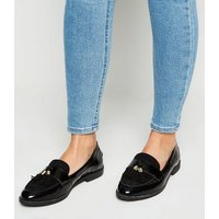 Black Suede and Leather Tassel Trim Loafers New Look