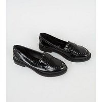 Black Patent Stud Trim Chunky Loafers New Look