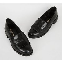 Wide Fit Black Leather Fringe Loafers New Look