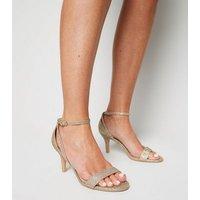 Wide Fit Gold Glitter 2 Part Stiletto Heels New Look Vegan