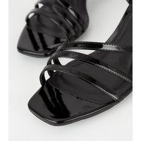 Black Patent Strappy Slim Block Heel Sandals New Look Vegan