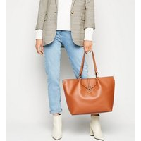 Tan Leather-Look Ring Front Tote Bag New Look