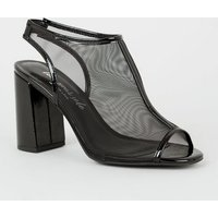Black Mesh Slingback Peep Toe Heels New Look