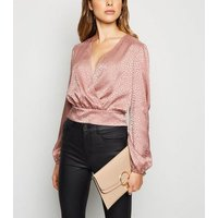Pale Pink Patent Ring Clutch Bag New Look Vegan