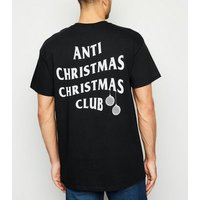 Black Anti Christmas Club Slogan T-Shirt New Look
