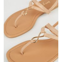 Rose Gold Leather-Look Metal Twist Sandals New Look