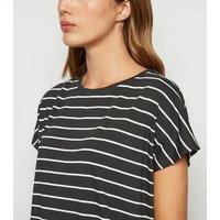 Black Stripe Longline T-Shirt New Look