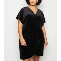 Mela Curves Black Velvet Wrap Dress New Look