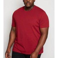 Men's Plus Size Dark Red Crew T-Shirt New Look