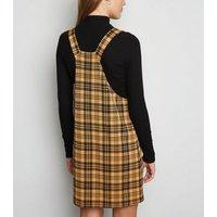 Mustard Check Ring Strap Pinafore Dress New Look