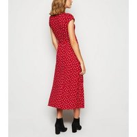 Red Ditsy Floral Jersey Midi Dress New Look