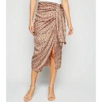 Pale Pink Satin Spot Wrap Midi Skirt New Look