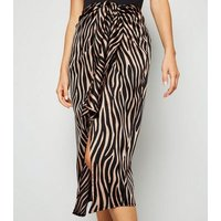 Brown Satin Zebra Print Wrap Skirt New Look
