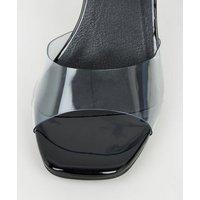 Black 2 Part Clear Strap Stiletto Heels New Look