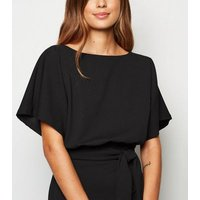 Black Batwing Belted Midi Dress New Look