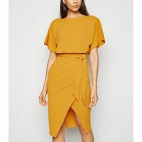 Mustard Batwing Belted Midi Dress New Look