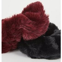 2 Pack Black and Burgundy Faux Fur Scrunchies New Look