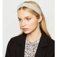 Cream Ribbed Velvet Knot Headband New Look
