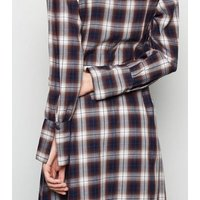 Innocence White Check Long Sleeve Shirt Dress New Look